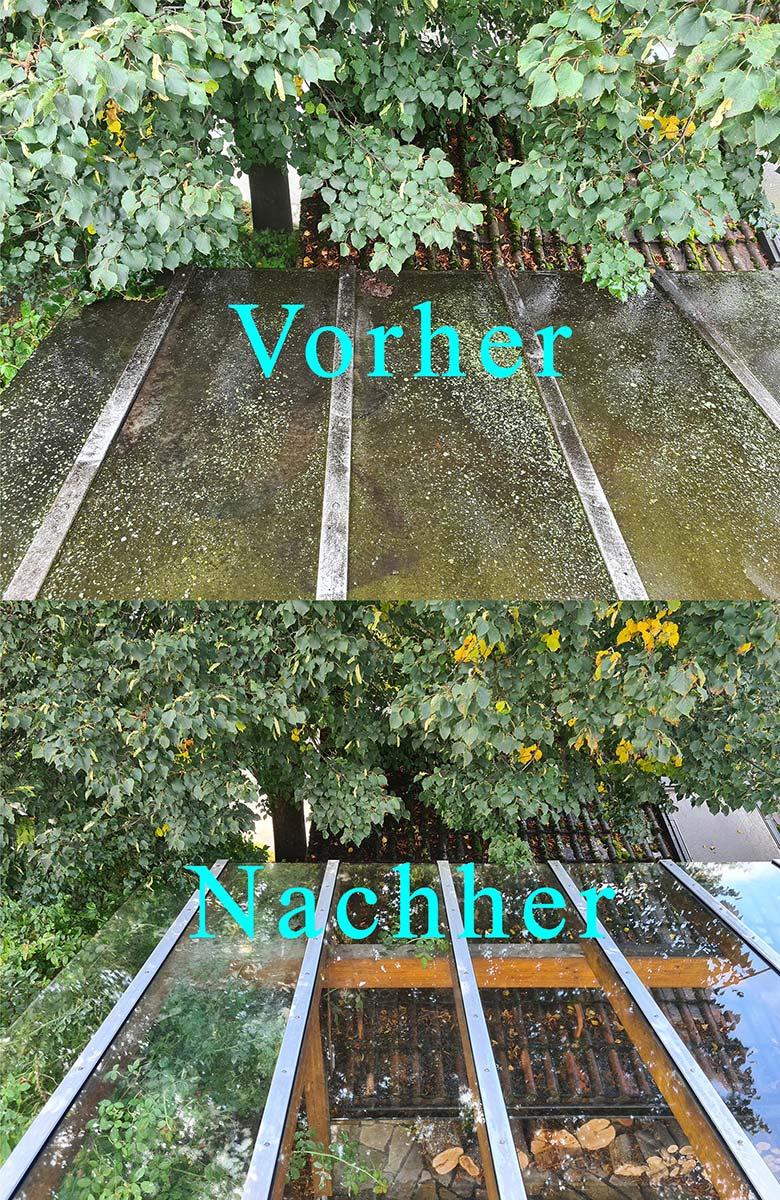 Vorher / Nachher: Glasdachreinigung